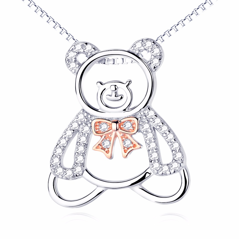YFN 925 Sterling Silver Christmas Necklace Gifts CZ Crystal Lovely Bear Pendant Necklace Chain Animal Jewelry(China (Mainland))
