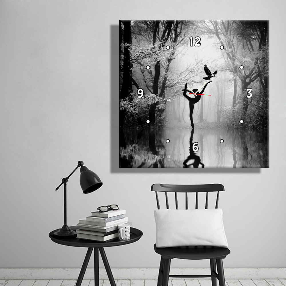 Wall Decoration For Living Room A Woman Dancing on The Surface of The Lake Clock in Canvas(China (Mainland))