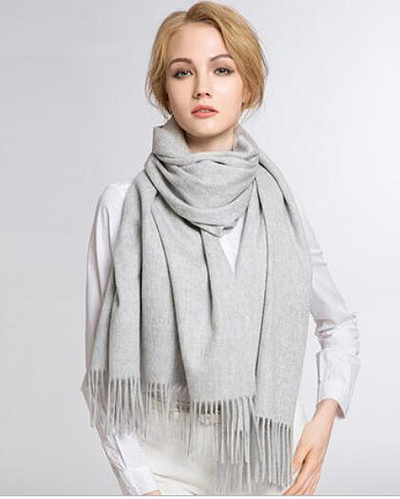 100%Cashmere Scarf Women Light Gray Pashmina Thick Winter Solid Natural Fabric Extra Soft&Warm High Quality Free Shipping