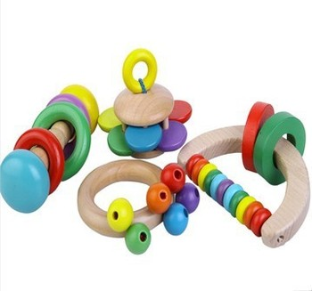 Free Shipping!! Wholesale Baby Toys Colourful Creative Hand Bell Rattles Wooden Toys Baby Shaking Toys For Children Wooden Toys