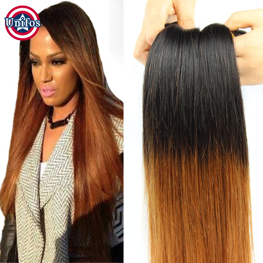 Brazilian Straight Ombre Hair Extensions Colored Two Tone Hair Weave Brazilian Ombre Human Hair ...