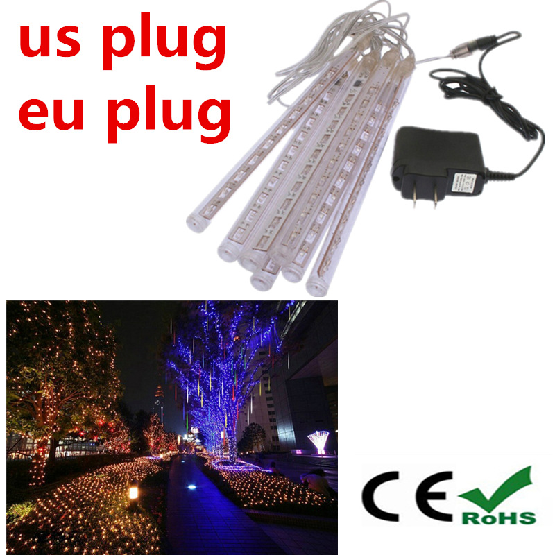 8 tubes/set led christmas meteor shower light 20CM 110V 220V EU/US plug Rgb tubes luminaria home wedding decoration(China (Mainland))