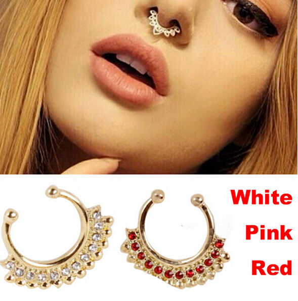 Rose Gold Surgical Steel Titanium Gold Silver Plated Crystal Fake Nose Ring Fake septum rings Piercing Body Jewelry Nose Hoop(China (Mainland))