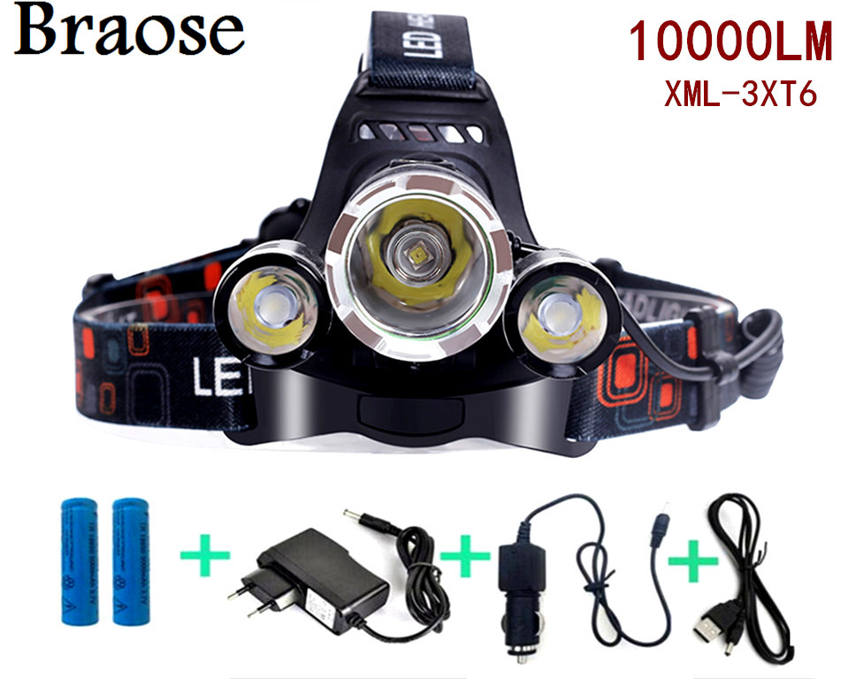 Cree 10000 Lumens Headlight XM-L 3XT6 LED Head Light 4 Modes Headlamp Lantern Hunting Head Flashlight +Car AC Charger + Battery(China (Mainland))