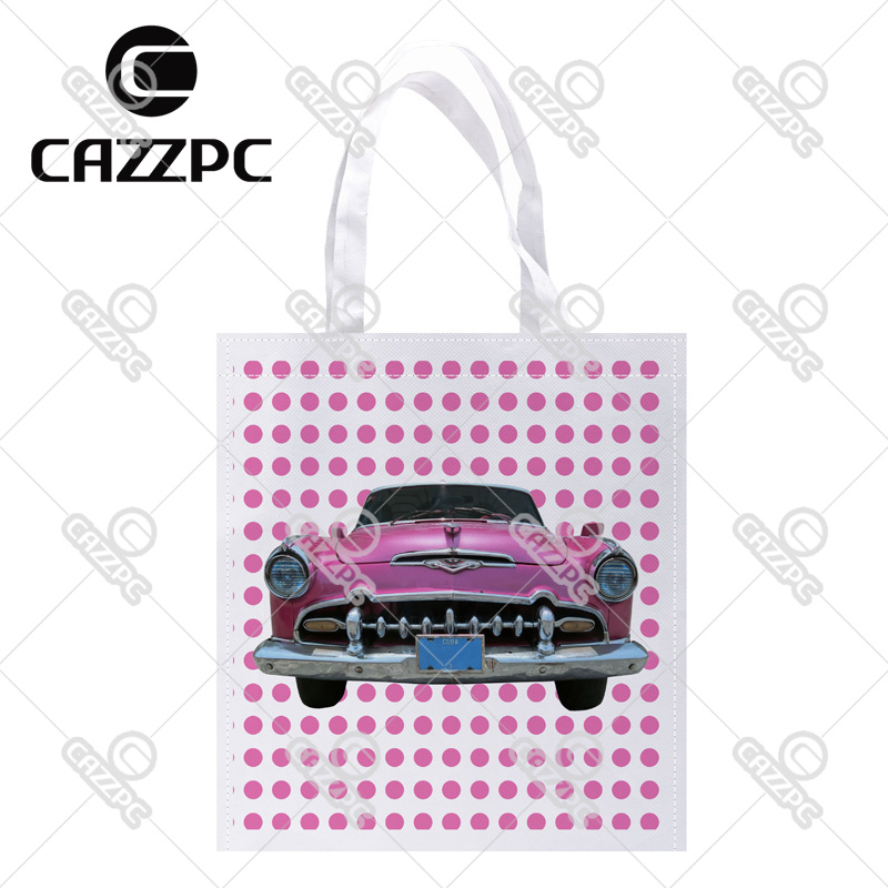 Pink Dot and Vintage old Car Print Custom Non-Woven Fabric Reausble Grocery Shipping Storage bag Pack of 4()