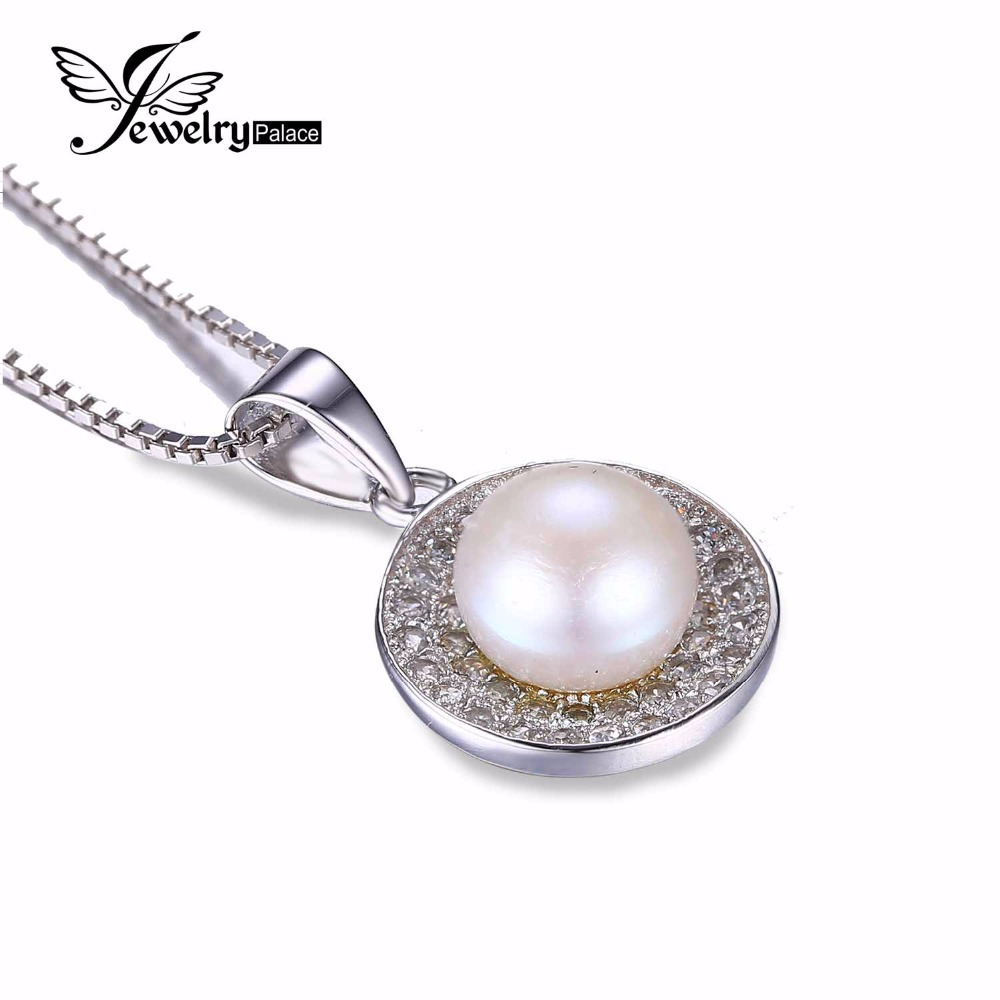 100% Natural Freshwater Pearl Pendant Genuine 925 Sterling Silver Jewelry Classic Women Wedding Fine Jewelry White Pearl Set(China (Mainland))