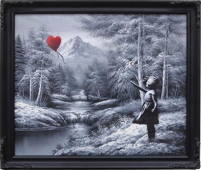 HOT SALE 100% HAND PAINTED ON CANVAS Bansky Graffiti Balloon Girl Fine Art Repro Canvas Hand painted Democrat Bid(China (Mainland))