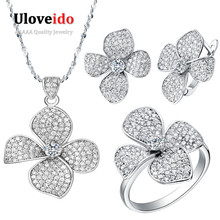 50% Off Uloveido Silver Color Jewelry Wedding Jewelry Set Necklaces & Pendants Flower Earrings Rings White Clear Zircon T001(China (Mainland))