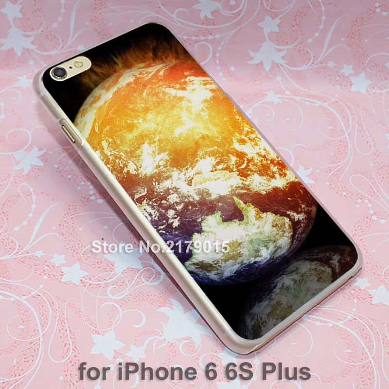 art burning earth hard transparent clear Cover Case for Apple iPhone SE 4 4s 5 5s 5c 6 6s Plus
