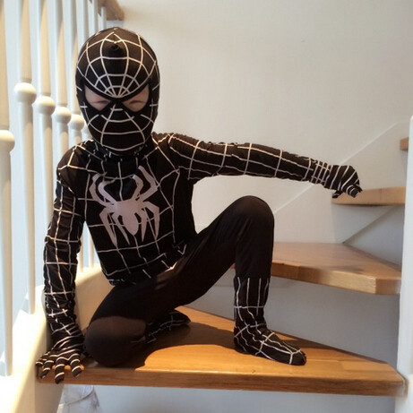 DB23728 Black spiderman costume-14