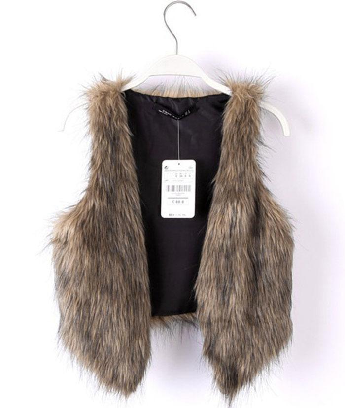 Plus Size !!! New Style Fashion Lady Vest Jacket Long Hair Solid Sleeveless Coat Outerwear Women Luxury Jacket Waistcoat Lucky12(China (Mainland))