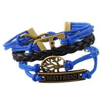 Best Friend Heart Lock Bronze Tone Wish Tree  Blue Charm Vintage Multilayer Leather Bracelet Best Friends Gift 1PC(China (Mainland))