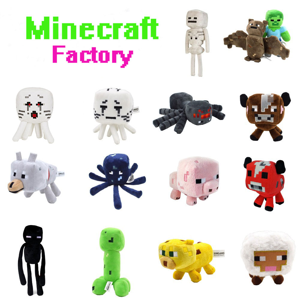 Minecraft Plush Toys 16-26cm My World Zombie Ghost Doll Wolf Sketelon Enderman Ocelot Stuffed Animals JJ Strange Sheep 15 style(China (Mainland))