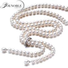 YouNoble Свадьба настоящее Пресной Воды жемчужина длинное ожерелье матери женщин, белый реальных природных свадебный жемчужное ожерелье тела для девочки ювелирные изделия(China (Mainland))