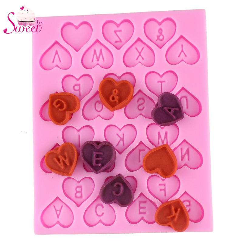 2016 New Heart Shape Lettle Design Chocolate Candy Silicone Mold Kids Birthday Cakes Decoration Sugar Craft Baking Tools(China (Mainland))