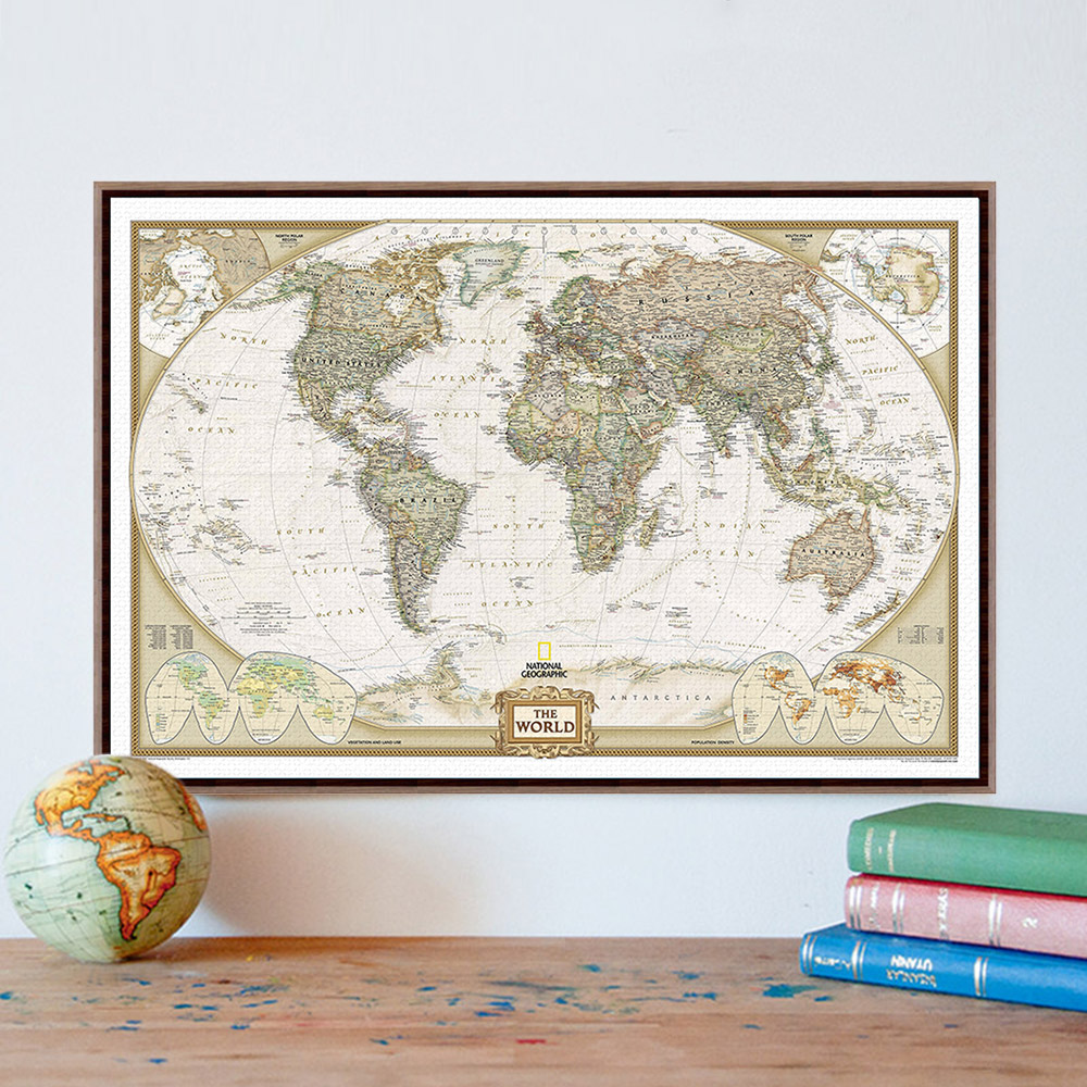 vintage retro geography world map a4 large art print poster shabby chic wall picture canvas painting
