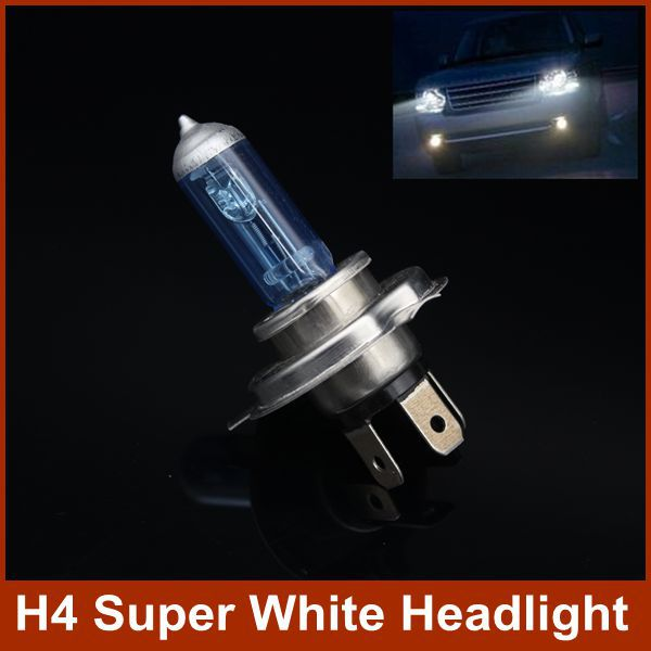 Halogen Super White H4 Car Light Xenon HID Headlights Head Lamps Replacement Bulb 6000K P43T 12V/90W Low/High Beam(China (Mainland))