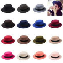 10 Color Men Women Fedora Hat Flat Dome Oval Top Bowler Porkpie Toca Sombrero Sun Hat With Black Ribbon Band 10(China (Mainland))