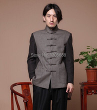 New style Chinese Men's tradional  woolen party jacket coat Black Mao jacket Gray and black  Size S M L XL XXL(China (Mainland))