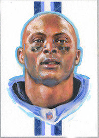 Original ART # Eddie George Titans Legend oil painting--100% hand painted 24 inch- best home Decor ART - FREE SHIPPING COST(China (Mainland))