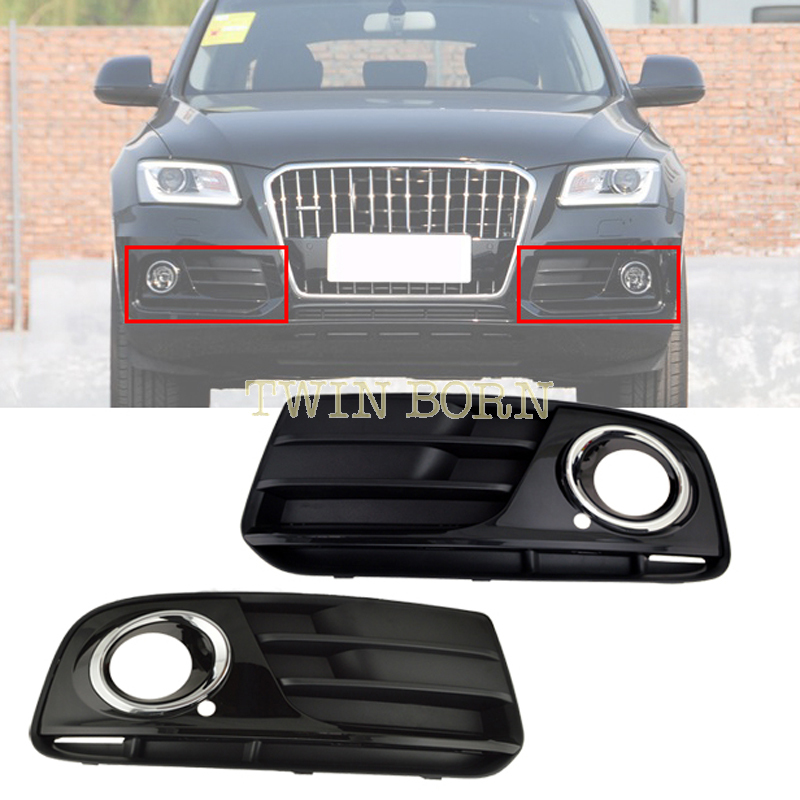 Bumper Grill For 2013 2014 Audi Q5 Front Lower Grille Spray Painting Chrome Styling One Pair(China (Mainland))