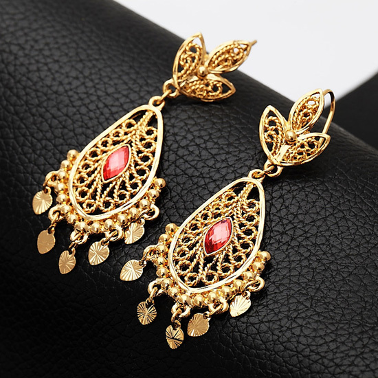 Awesome  IndianGoldPlated18KNecklaceEarringsSetTraditionalWomenJewelry