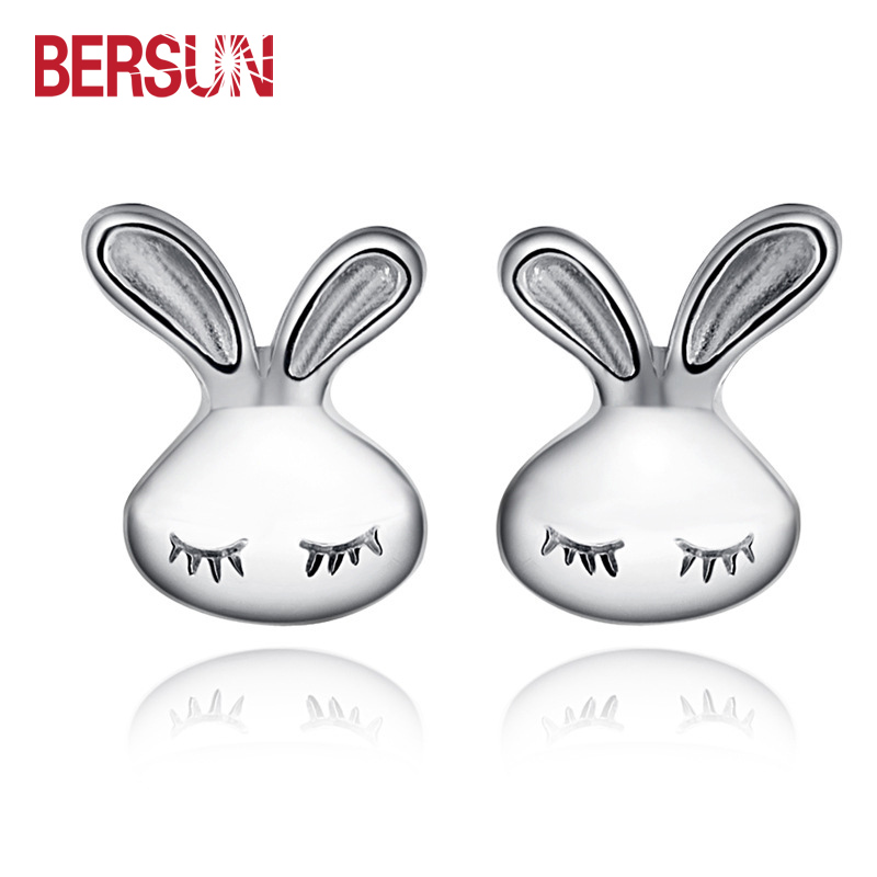 Bersun 2016 New Fashion Women Stud Earrings Silver Plated Cute Rabbit Design Small Earring Jewelry Wholesale(China (Mainland))