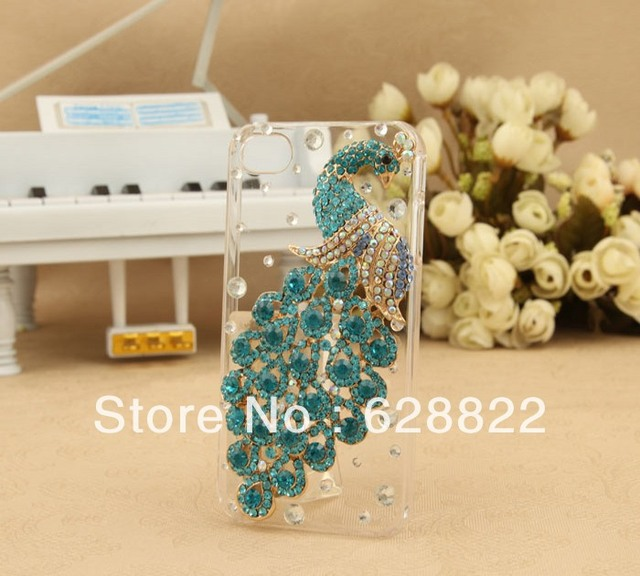 2013 full Luxury diamond case  for iphone 5, 3D peacock  cell phone case with transparent design