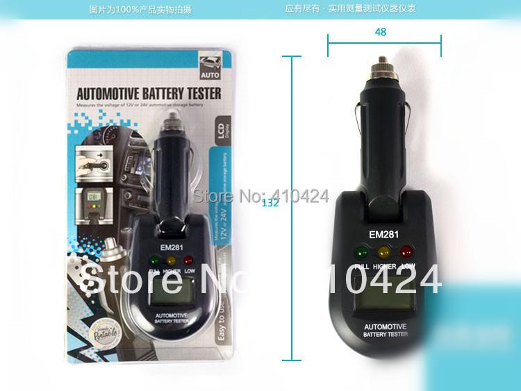 (5 pcs/lot) 12V & 24V Mini vehicle Automotive Battery Checker Load Tester Electrical Analyzer EM281(China (Mainland))