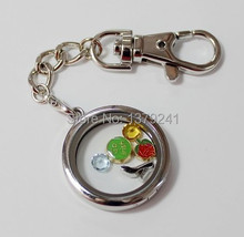 30MM Silver Round Shaped Floating Memory Locket Keychain,10Pcs/lot , Free Shipping(China (Mainland))