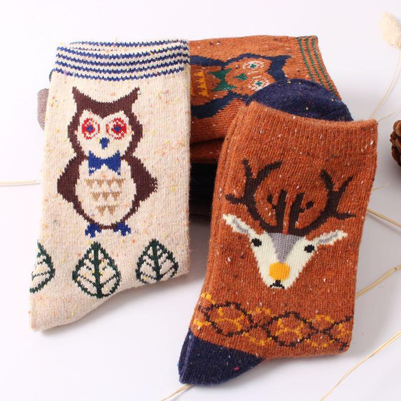 Hot Fashion New Women Winter Cartoon Cotton Ankle Socks Cute Deer Wool Sock Christmas Gift calcetines mujer For Girl Cheap Z1(China (Mainland))