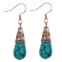 Unique Vintage Pattern Design summer style Tibetan Teardrop Turquoise Fine and Fashion Jewelry Earrings For Women(China (Mainland))