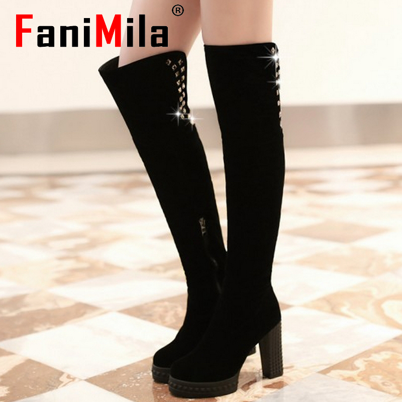 CooLcept Free shipping over knee high heel boots women snow fashion winter warm shoes boot P15335 EUR size 34-39<br><br>Aliexpress