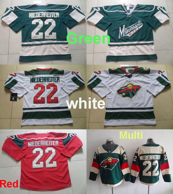 Men's Minnesota Wild #22 Nino Niederreiter Jersey 2016 Stadium Green Red White Hockey Ice Jerseys,100% Stitched,Top Quality(China (Mainland))