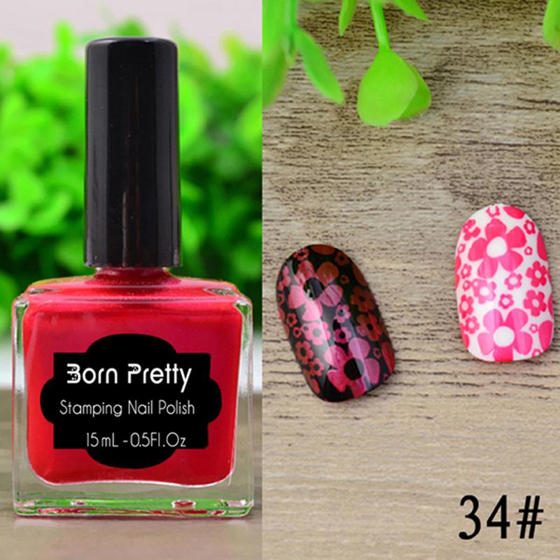 15ml Shimmer Born Pretty Nail Art Stamping Polish Red Nail Polish 34#(China (Mainland))