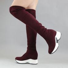 QUTAA 2020 Stretch Stoffe Über Die Knie Stiefel Höhe Zunehmende Runde Kappe Frauen Schuhe Herbst Winter Beiläufige Lange Stiefel Size34-43(China)