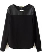 Blusas Femininas 2015 Spring New Fashion Brand Designer Tops Womens Clothing Casual Novelty Black Long Sleeve Contrast PU Blouse(China (Mainland))