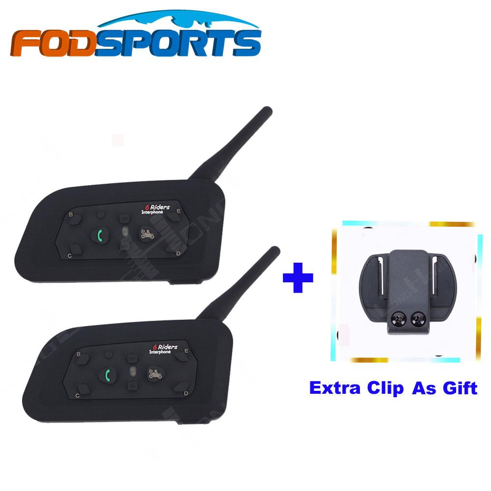 Extra Clip as Gift! Fodsports 6 Riders V6-1200M BT Interfone Motorcycle Helmet Bluetooth Intercom Walkie Talkie Headset(China (Mainland))