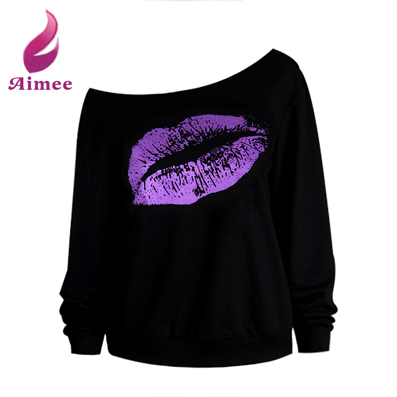 Autumn Hoody Women Long-Sleeved Sweatshirts Red Sexy Lips Print Off The Shoulder Raw Edge One Piece Female Pullovers 8887(China (Mainland))