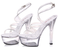 Women s shoes 2015 Summer Super Sexy high heeled 15 cm thin crystal buckles transparent waterproof