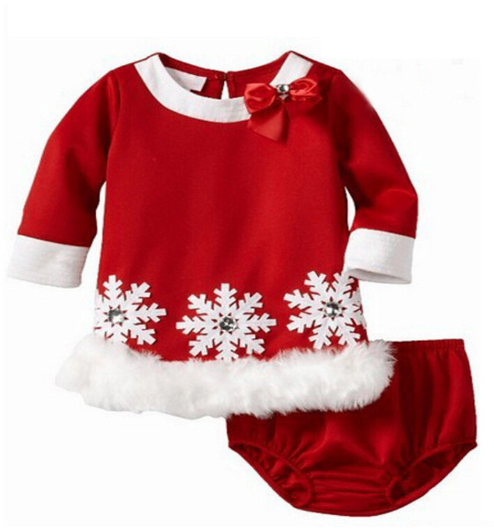 Winter girls clothes suit Snowflakes baby girl dresses + PP shorts warm Christmas dress gift cotton upscale girls clothing sets