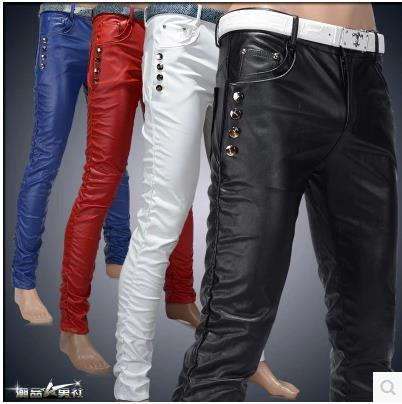 Free shipping ! New Arrival fashion tight leather pants personality male slim leather pants men's clothing PU trousers 4 colors