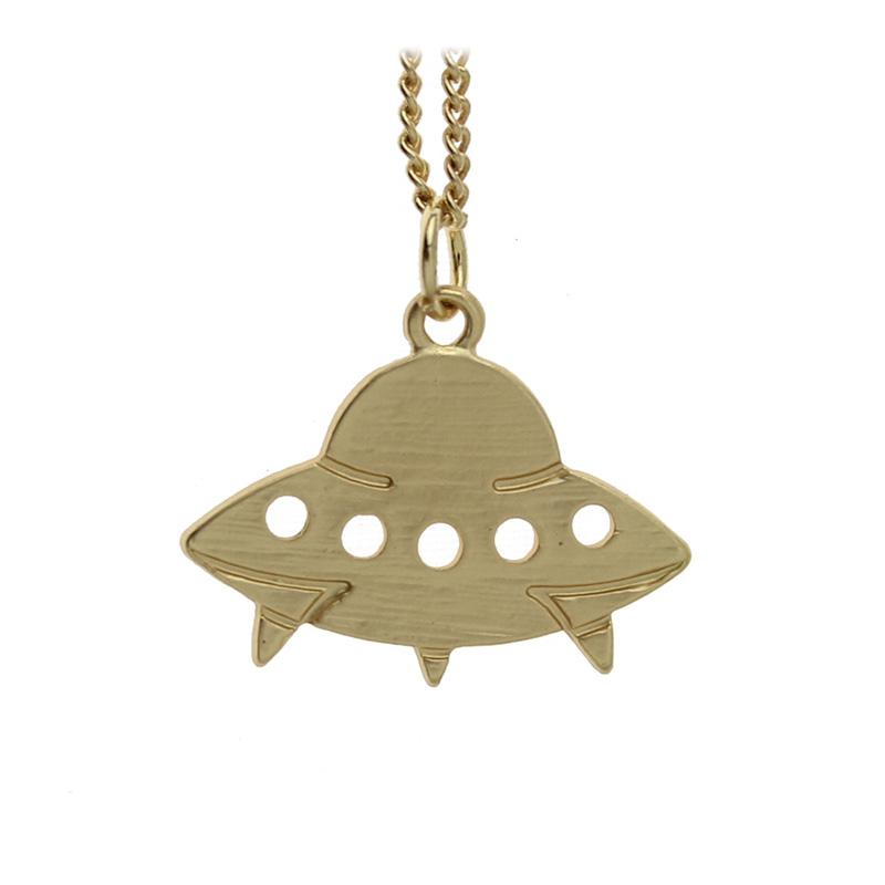 "Women Fashion Jewelry Silver/Gold Tone Cute Small Rockets Aliens UFO Astronauts Bullet Pendant 16"" Short Necklace Xmas Gift ZH03(China (Mainland))"