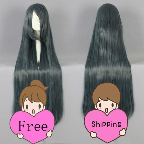 Wholesale Popular Green Grey 100cm Long Straight High Grade Synthetic Hair Free Shipping<br><br>Aliexpress