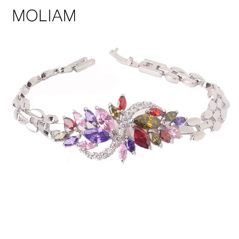Attractive 18k white gold plated branded bracelets colorful water drop topaz lady chain bracelet wholesale free shipping L117b<br><br>Aliexpress
