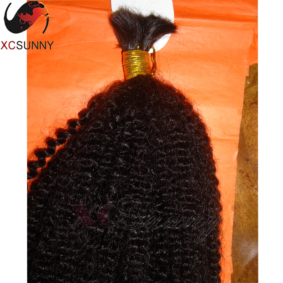 Top Quality Unprocessed Virgin Brazilian Afro Kinky Curly Human Hair Bulk 2Pcs/Lot 200g Curly Human Braiding Hair Bulk No Weft