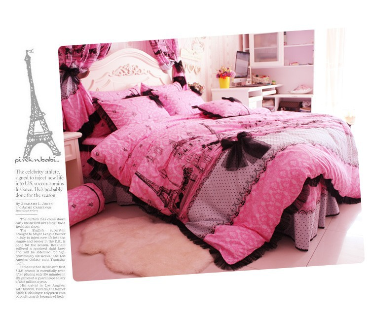 Korean style Eiffel Tower black lace bedspread princess comforter covers queen size 100%cotton bedding duvet cover bed skirt set(China (Mainland))