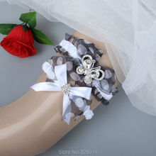 Fashion Luxury White Ribbon and Organza Elastic Wedding Garter Sets With Glass Stone Butterfly Design Handmade