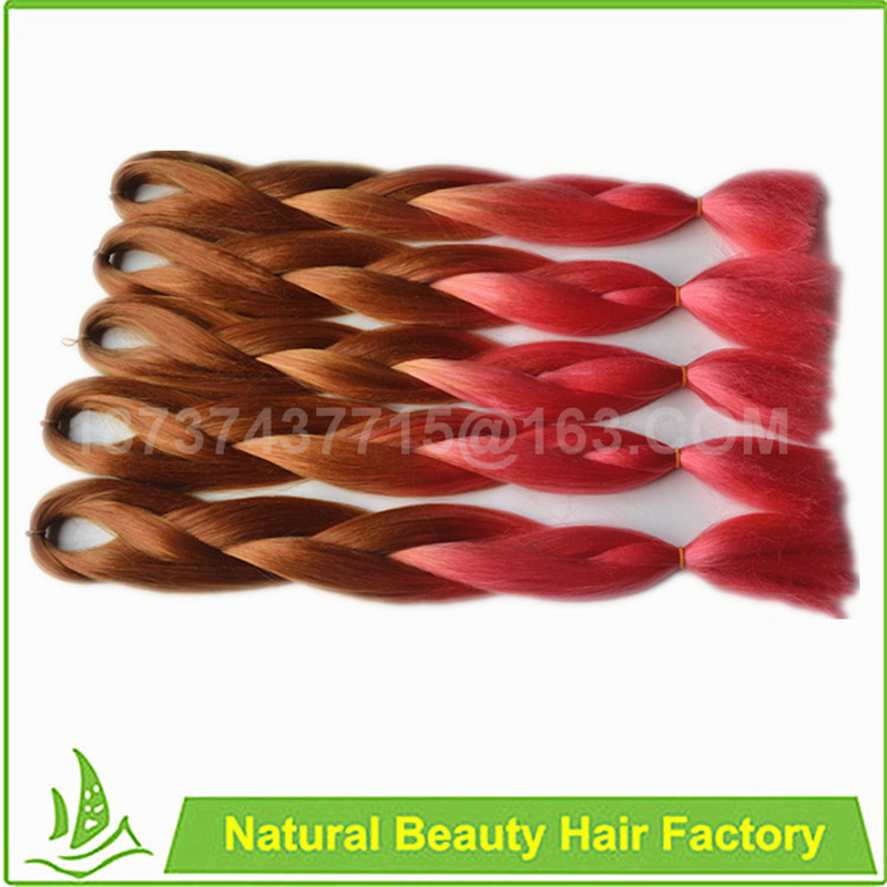 Free ship!Ombre expression black&amp;rose red braiding hair 24 100g synthetic high temperature fiber jumbo braid hair extension<br><br>Aliexpress