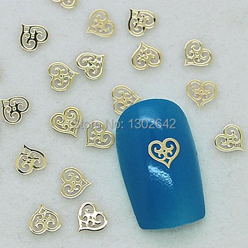 K115 200pcs/lot Hollow Gold Heart Metal Nail Art Tiny Slice Case DIY Metal Stud Nail Accessories Supplier(China (Mainland))